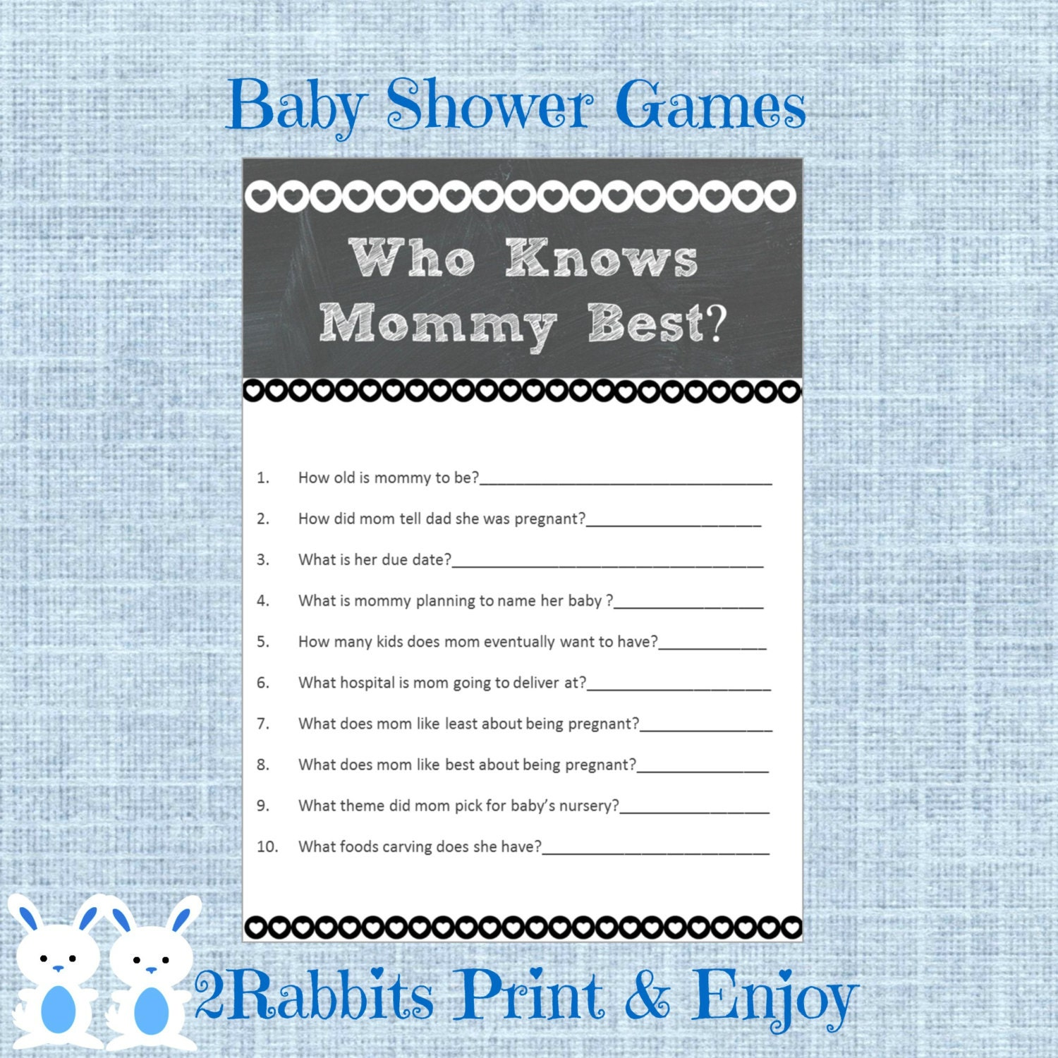 chalkboard baby shower game who knows mommy best rustic baby