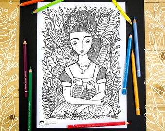 Beautiful Girl with Parrots - Adult Coloring Page - Kids Coloring Page