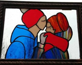 Stained glass couple panel Suncatcher, boyfriend girlfriend