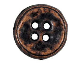 Metal Buttons - Rustic Antique Copper Metal Hole Buttons - 22mm - 7/8 inch - 6 pcs