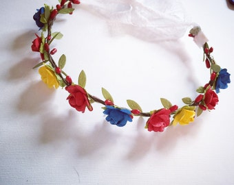 Snow White inspired flower halo tie back