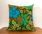 Vintage Fabric Cushion Cover: Fab Florals! Tropical flowers, floral cushion, retro cushion, Sheridan cushion, 1960s cushion