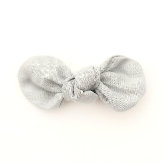 Grey Fabric Bow : Knotty Gal Style on a Clip or Nylon Headband  // Machine Washable