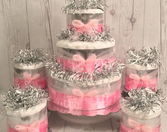 It's A Girl Diaper Cake Centerpiece Set, Baby Shower Centerpiece, Princess Diaper Cake