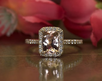 Madison - Morganite Engagement Ring in yellow Gold, Cushion Cut in Diamond Halo, Designed to Fit-Flush with Wedding Band, Free Shipping