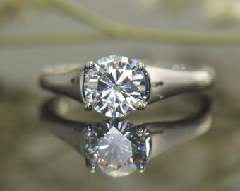 Low Profile Tapered Solitaire, 1.00ct Forever One Moissanite Engagement Ring in 14k White Gold, 6-1.75mm Tapered Band, Fit Flush, Hayden One