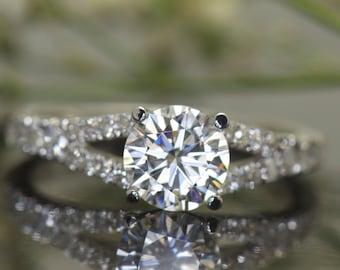 1.00ct  Forever One Moissanite & Diamond Engagement Ring in White Gold, 1ct Round Brilliant Center, Shared Prong Split Shank Design, Kiera B
