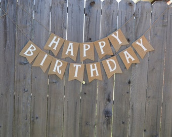 Burlap 'Happy Birthday' Banner