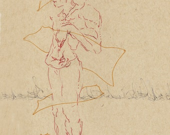 "Original Male Figure Modern Art 5.5""x8.5"" on Strathmore Toned Tan Paper"