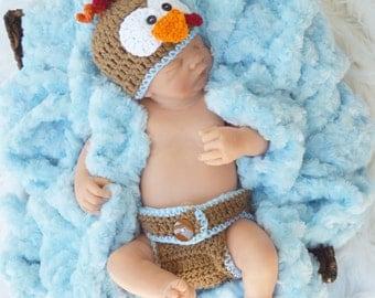 boy turkey outfit, turkey set, newborn turkey hat diaper cover, thanksgiving outfit, blue turkey hat,