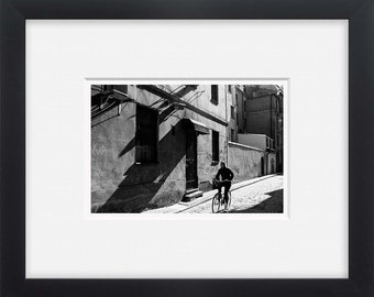 Riga street ride, black and white street photography Latvia, horizontal photo print
