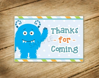 Little Monster / Monster Theme Matching Favor Bag Tags / Goodie Bag Tags
