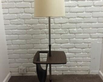 Mid Century Modern Vintage Floor Lamp with Magazine Rack Eames Era Danish Style