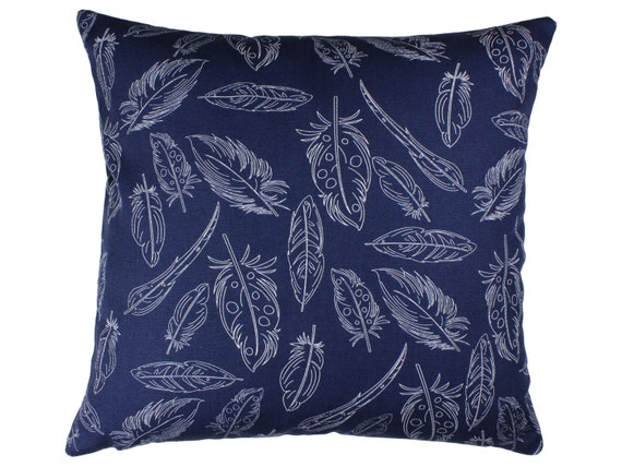 Navy Blue Decorative Bed Pillows: Navy Blue Feather Pillow Tribal Decorative Throw Pillow Cover