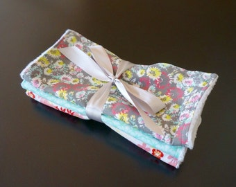 Chenille Burp Cloths in Grey, Pink and Blue
