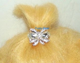 Puppy Bows ~ TINY DOGS Rhinestone rose pink or boy blue crystal bowknot dog bow barrette ~ USA seller