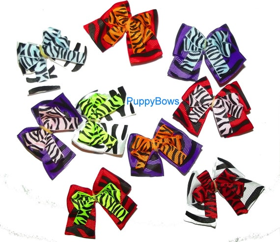 Puppy Bows ~Set of 6 assorted animal print pet hair grooming bow zebra stripe ~USA seller