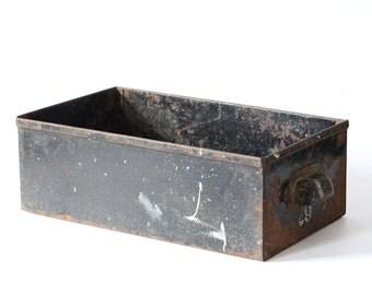 Vintage metal drawer industrial box black white number 29 storage box with handle