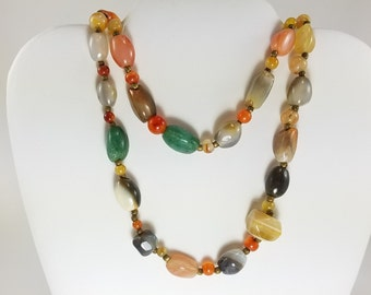 Vintage Polshed Multistone Bead Necklace