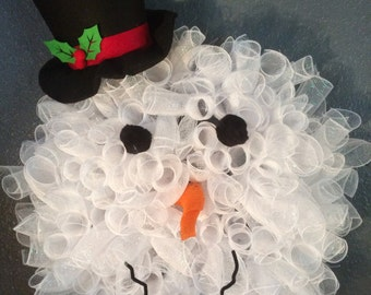 Snowman mesh deco wreath