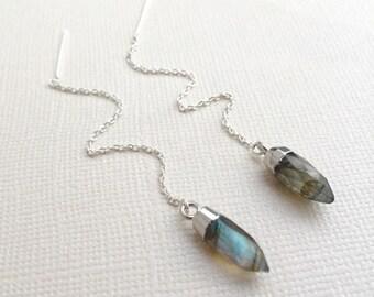 Labradorite Threader Earrings ~ Sterling Silver Chain Threader Crystal Point Earrings