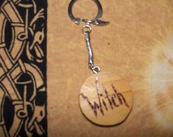 Wood-burned Pagan Proud Keychain  OOAK