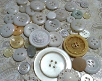 LOT 7: 50 Vintage White/Off White Buttons