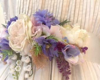Country garden Dress sash.  Woodland wedding.victorian style wedding.