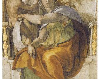 Michelangelo - Delphic Sibyl (1506) Art Canvas/Poster Print A3/A2/A1