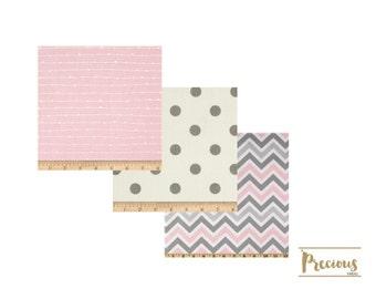 Baby Girl Crib Bedding - Baby Pink and Gray - Custom Crib Bedding