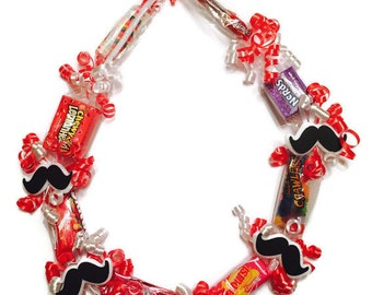 Mustache Bachelor Theme Candy Lei Party Favors