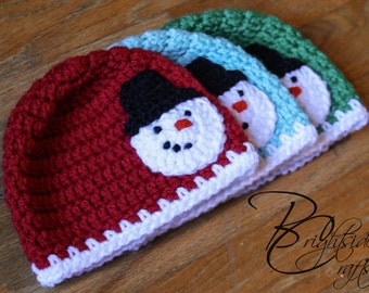 MADE TO ORDER Crochet Snowman Hat Crochet Christmas Hat Crochet Holiday Hat Baby Toddler Child Snowman Red Green Light Blue