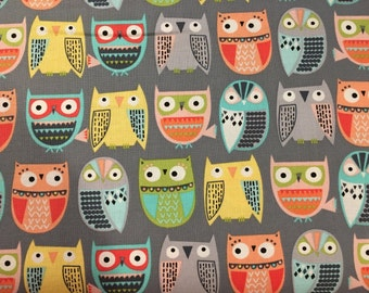 Grey Owls in Rows, Walk in the Woods, Woodland Scenic, from Timeless Treasures