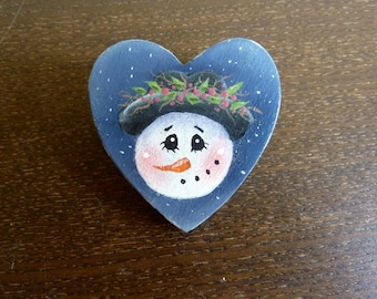 Hand Painted Wooden Brooch / Pin - Snowman Lady - Christmas Gift - Stocking Stuffer - Hostess Gift