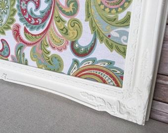White frame pin board - framed cork board - shabby chic decor - antique white