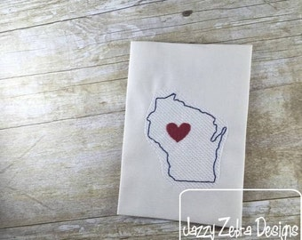Wisconsin State Sketch Embroidery Design