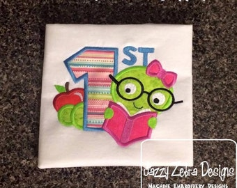 1st Day of School / Library / Book Girl Appliqué Design