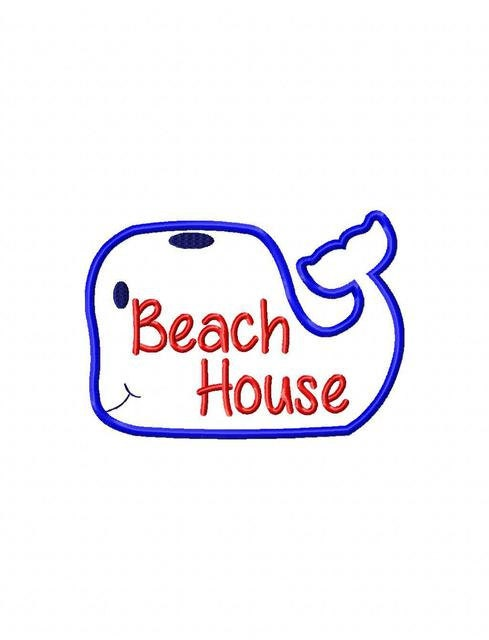 Beach house saying whale appliqu embroidery design for Beach house embroidery design