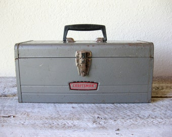 Vintage Sears Craftsman Grey Metal Utility Tool Box ~ Industrial Tool Case Box ~ Single Tray Tool Box Style