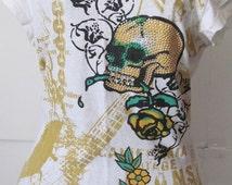 SALE Skull and Golden Rose Tattoo Shirt Junior sz M Cotton Blouse Beaded Embellishment Skull Shirt