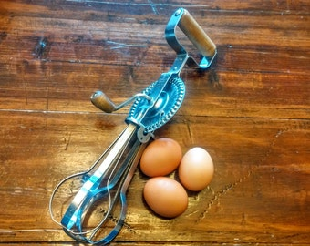 Vintage Manual Egg Beater with Wooden Handle
