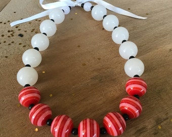 Chunky red and white bubblegum necklace perfect for strawberry shortcake costume, my little pony costuem, wonder woman costume, fall family