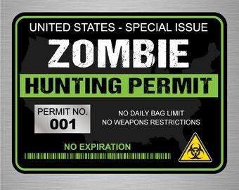 "Zombie Hunting Permit Decal Bumper Sticker Military (black) - 3"" x 4"""