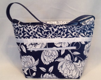 """Lunch Bag: """"See What Blue In"""" washable insulated lunch bag with a zipper front pocket and zippered top closure."""