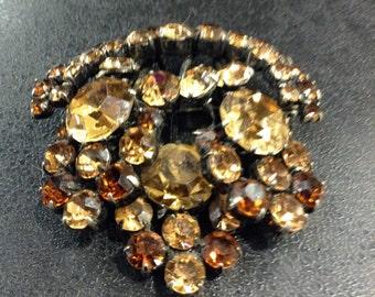 Golden brown rhinestone brooch