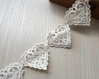 2 yards Off White Cotton Hearts Lace Trim Floral Hearts Appliques