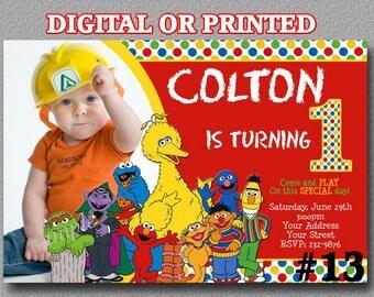 Sesame Street Invitation with Photo YOU Print Digital File or PRINTED Birthday Party Invitation Printable