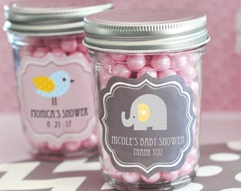 24 + Personalized Baby Shower Mini Mason Jars Candy Favor Favors Imprinted Custom Monogrammed Adorable! LOTS of Designs!