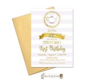 Beauty And The Beast Birthday Invitation Mrs Potts Gold Glitter First Party Printable Digital