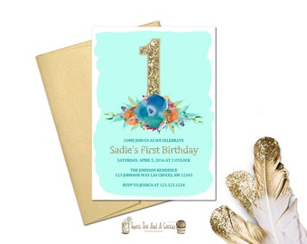 First Birthday Invitation Teal Blue and Gold Shabby and Chic Floral Flower Babies Girl Girls Turquoise Elegant Printable
